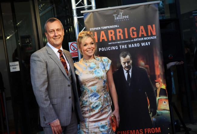 Stockton-born Stephen Tompkinson and Hayley McKay, from Darlington, who sings on the Harrigan soundtrack, at the premiere of Harrigan at the Gala Theatre Durham