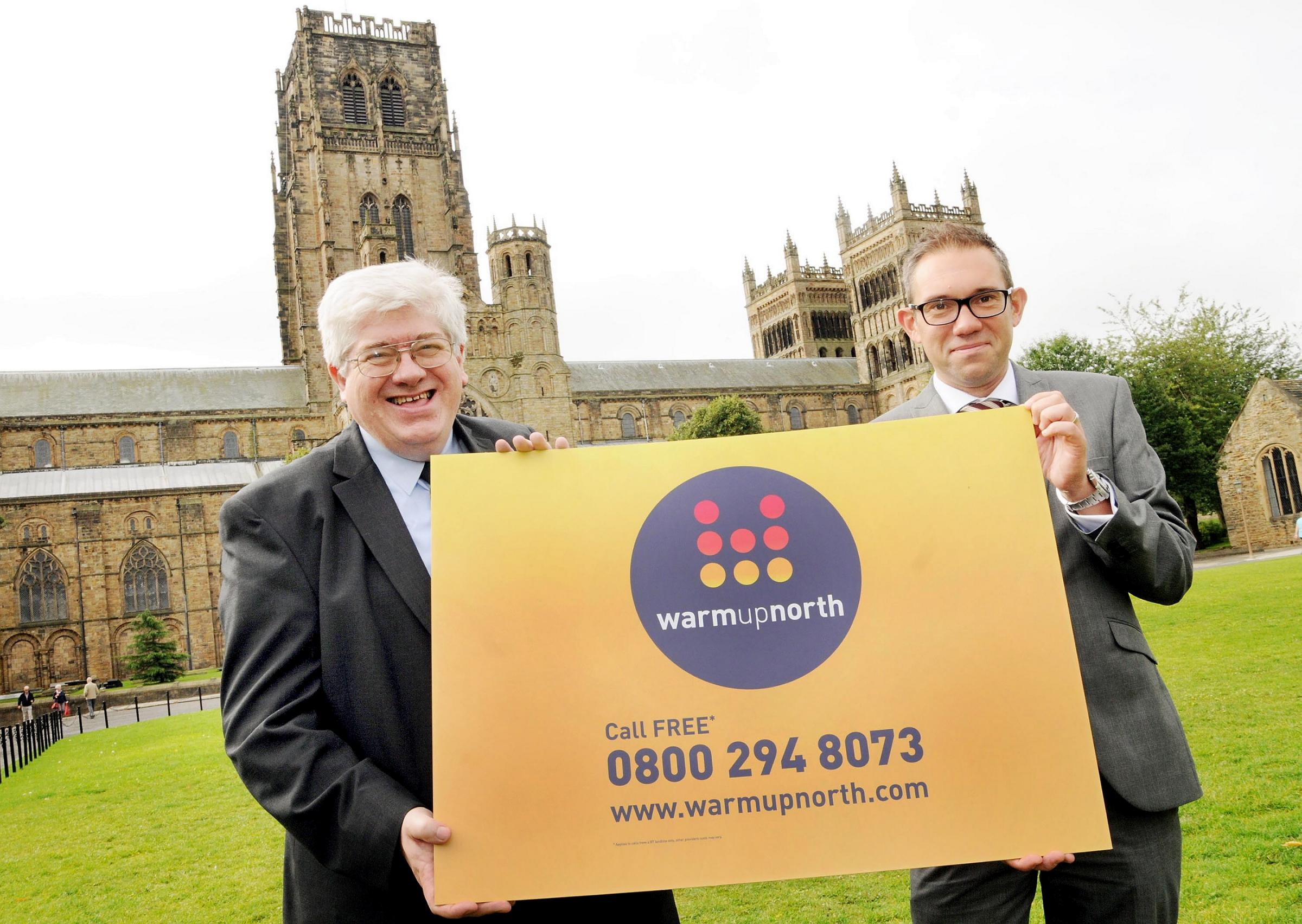 Councillor Neil Foster and Warm Up North's Jon Kershaw launching new energy efficiency scheme