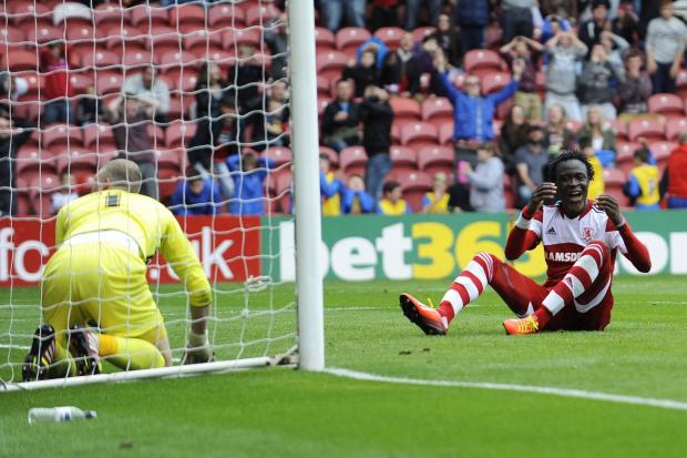 The Northern Echo: AGONY: Kei Kamara, scorer of Boro's first goal on Saturday, rues a late missed opportunity to win the game