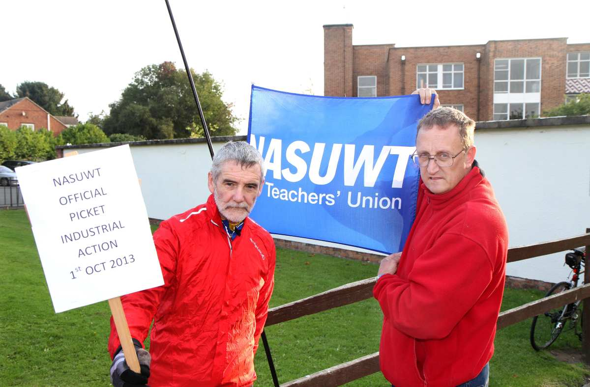 Teachers Paul Howe and Shaun Tomlinson on the picket line outside Thirsk School