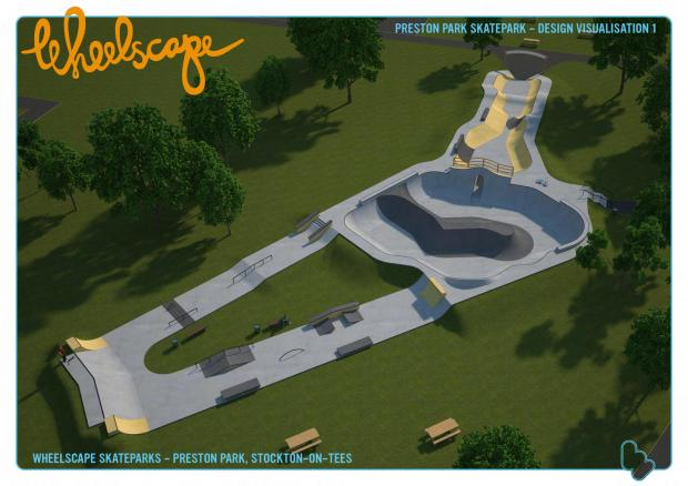 An artist's impression of the new skate park planned for Preston Park near Stockton