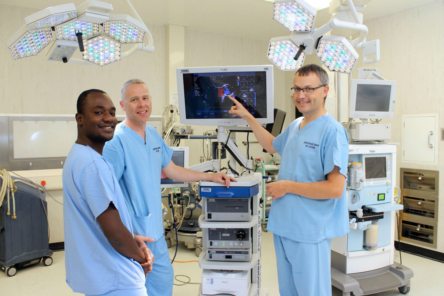 Pictured (L-to-R): Cardiothoracic surgeons Enoch Akowuah, Andrew Owens and Andrew Goodwin.