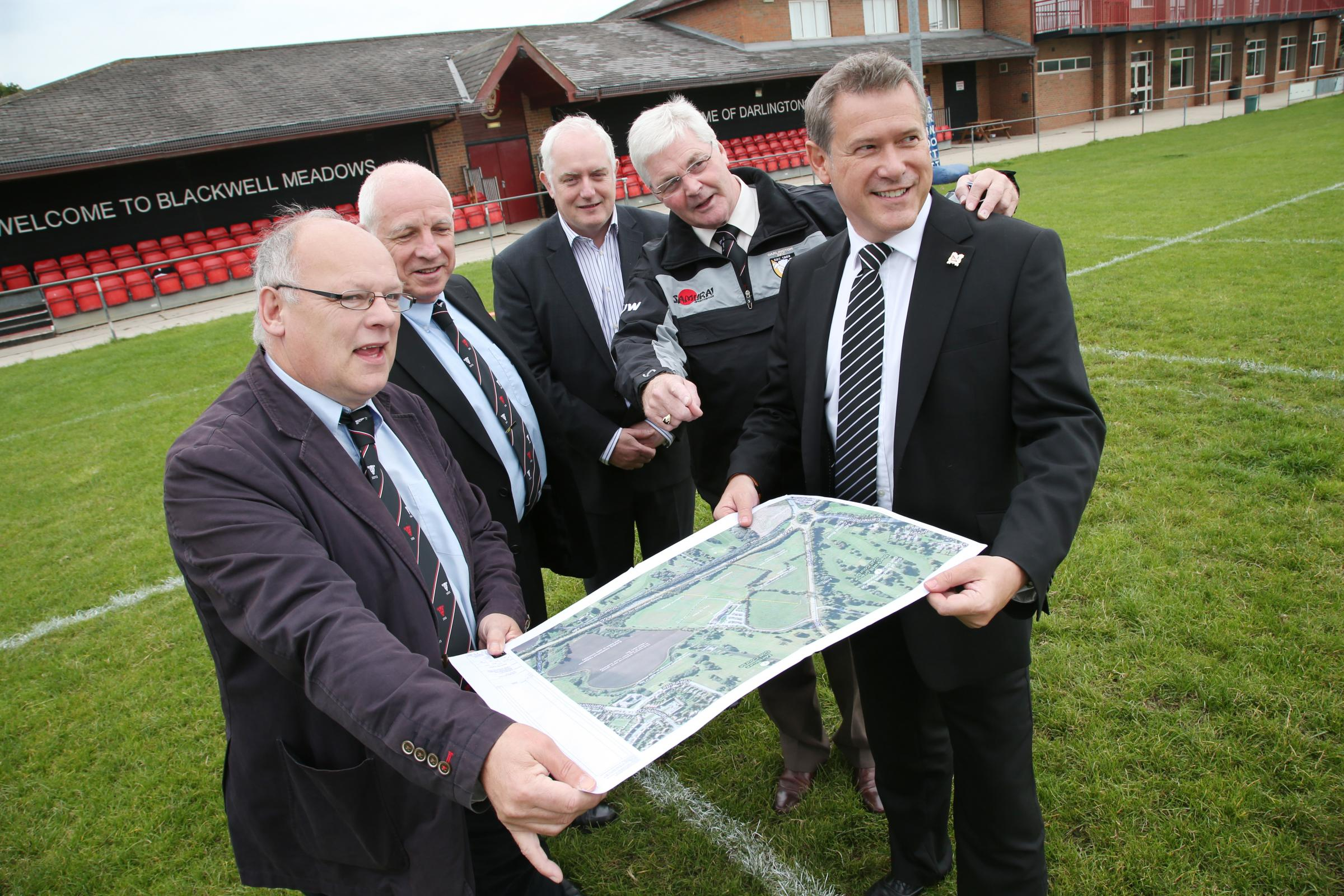 MAKING PLANS: From left Tony Stowe, from Darlington Rugby Club, Peter Griffin, director of facilities for rugby club, John Tempest, from Darlington CIC, Michael Wilkinson, chairman of the rugby club, and Martin Jesper, director of Darlington FC.