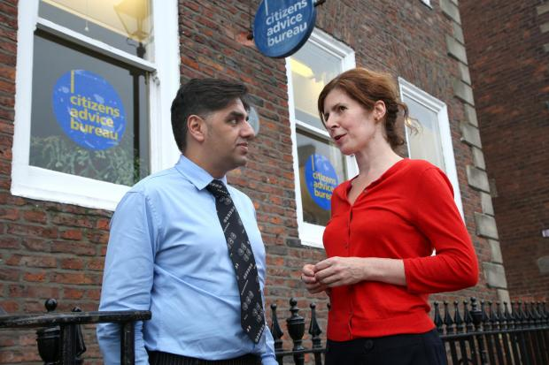 SCAM WARNING: Darlington CAB chief Neeraj Sharma, pictured with the town's MP Jenny Chapman