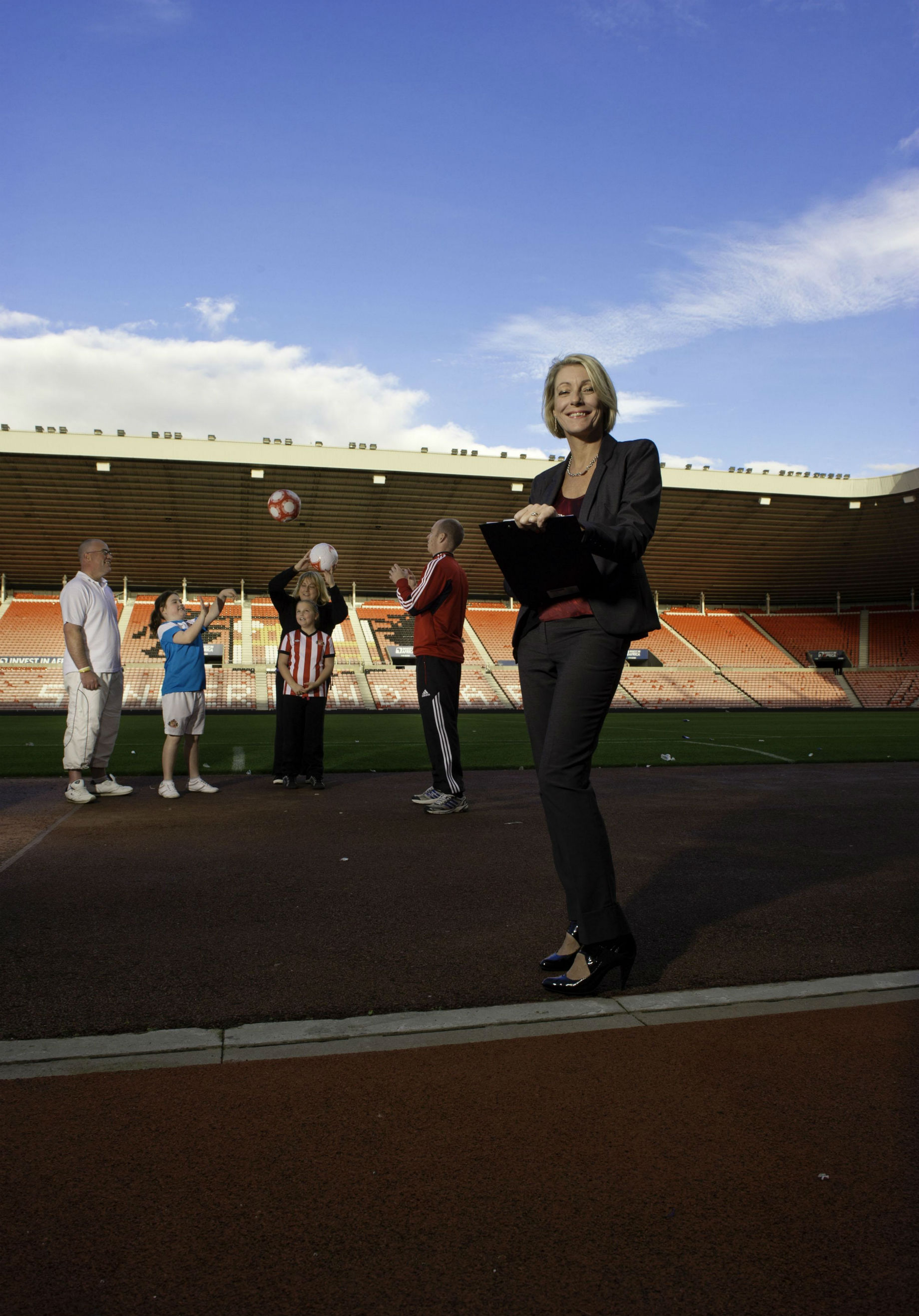 Family learning expert Dr Lynn McKenna pictured at Sunderland FC's Stadium of Light during her research.