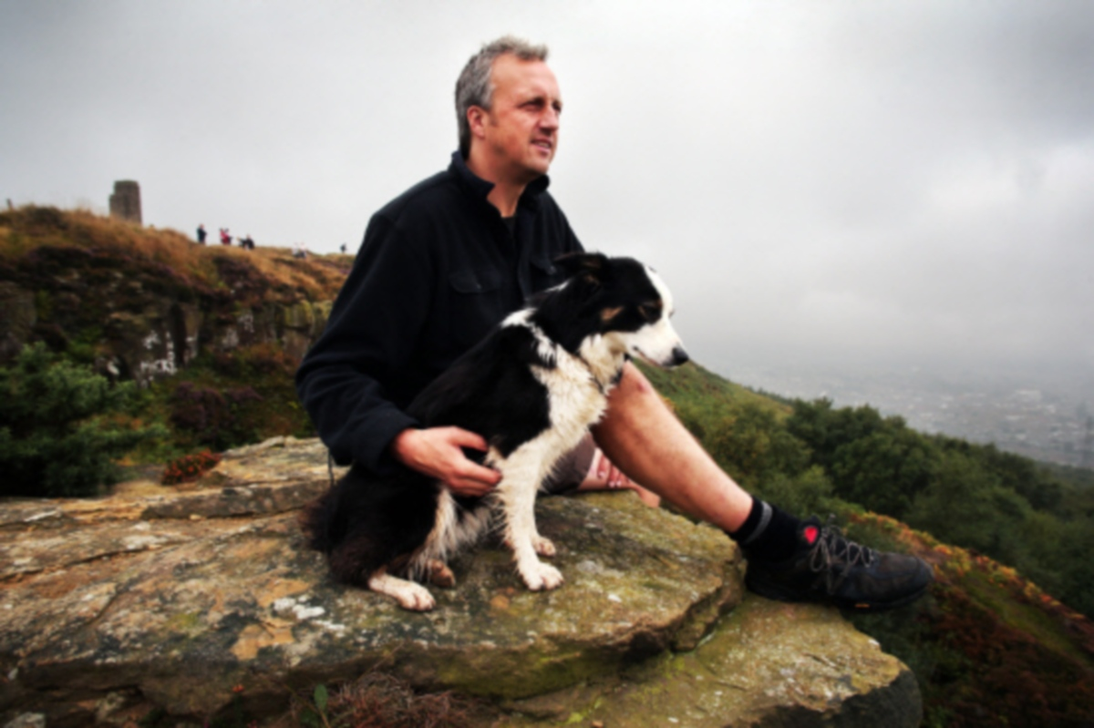 Craig Hornby and his dog Meg at Eston Nab. He is leading a campaign to buy the area for the public.