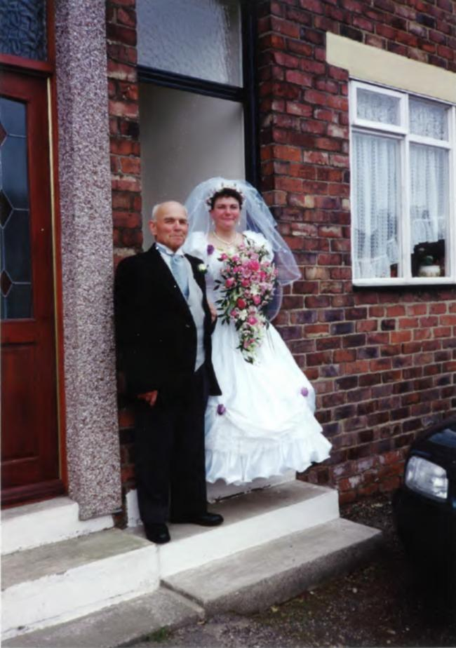 Christine Nicholson (nee Walker) who was killed in a collision on the A177 yesterday, pictured alongside her late father Les Walker on her wedding day