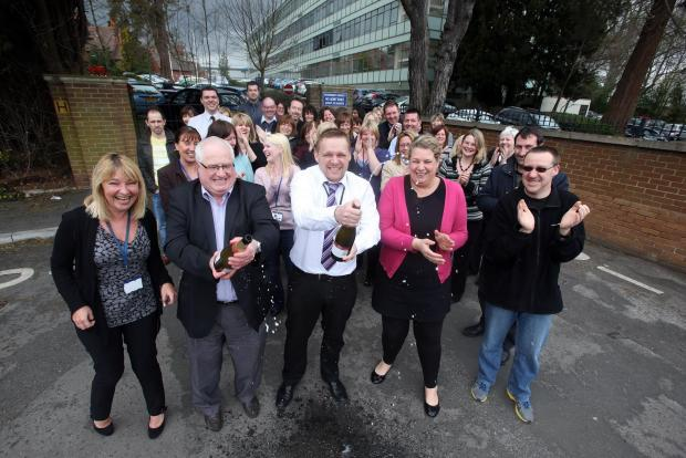 JOBS JOY: DfE staff celebrate the announcement, in April, that their jobs would stay in Darlington