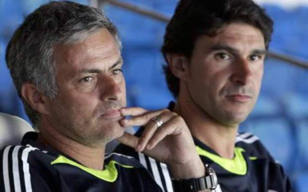 FORMER COLLEAGUES: Aitor Karanka and Jose Mourinho during their time together at Real Madrid