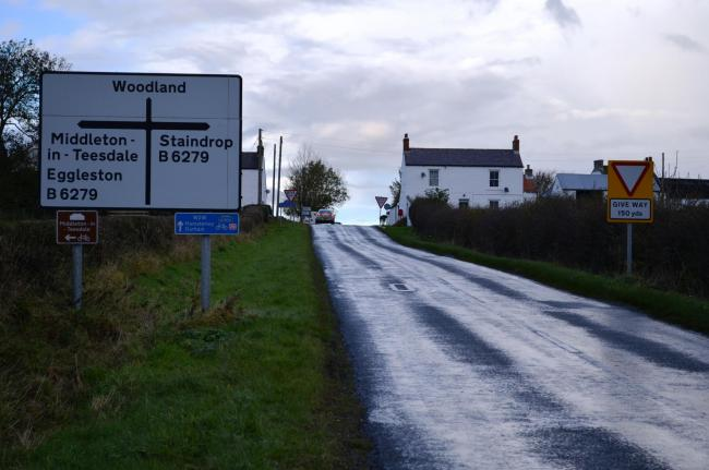 DANGER AHEAD: The approach to the crossroads at Kinninvie
