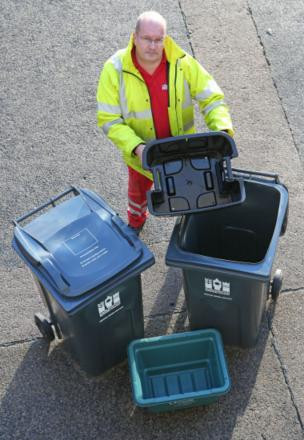 Street Scene team leader Dave Hutchinson with the proposed collection pack for Darlington households; wheelie bin on left for general rubbish, small green box for glass, smaller wheelie bin with inset box for plastics, paper etc
