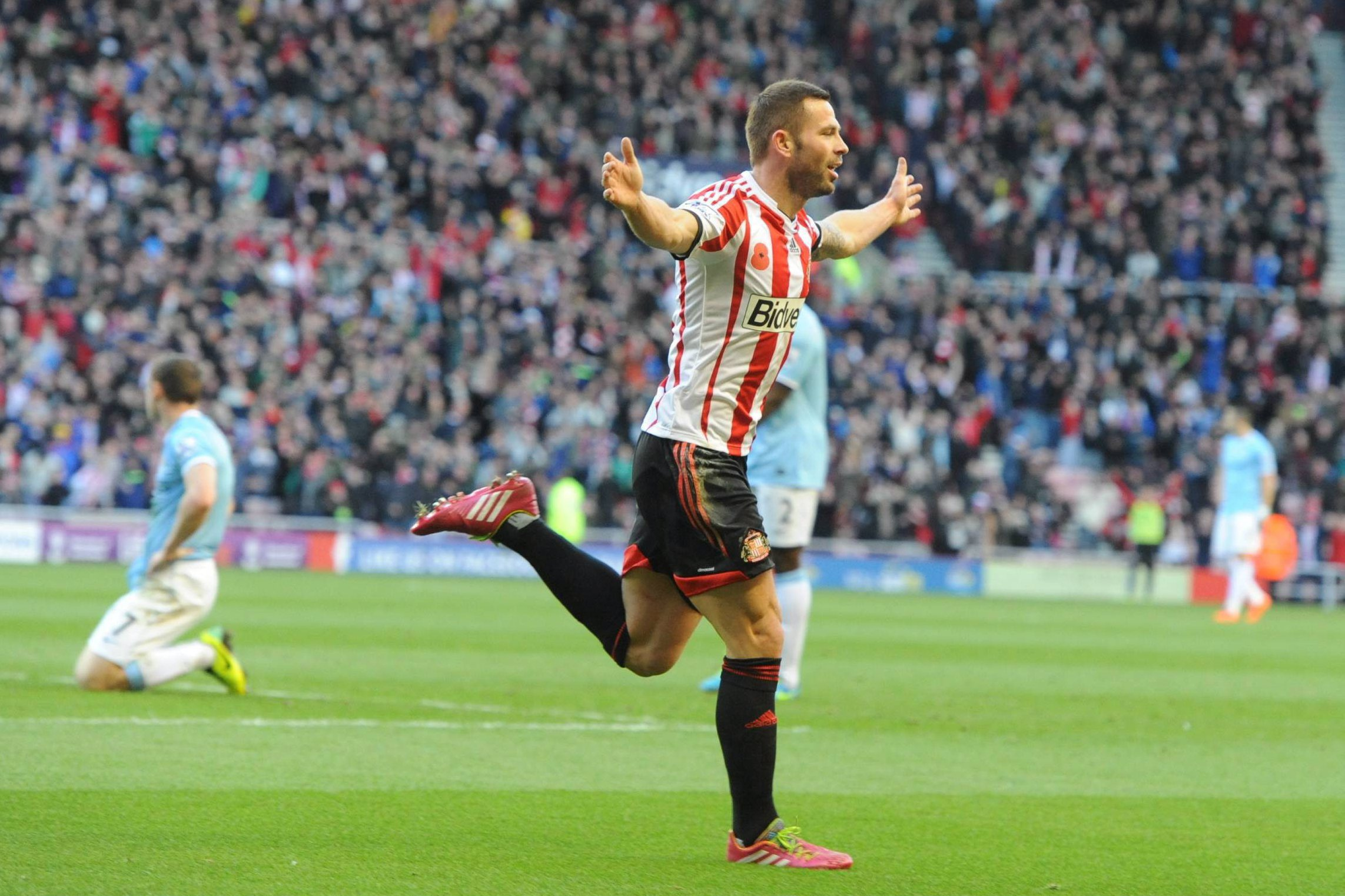 Wembley bound: Phil Bardsley's goal helped push the semi-final with Manchester United to penalties