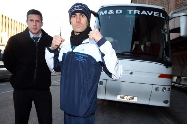 ON THE BUSES: Stuart Hall, right, with Ian Cass, director of coach company M&D Travel, who are taking fight fans to Hall's bout in Leeds on December 21