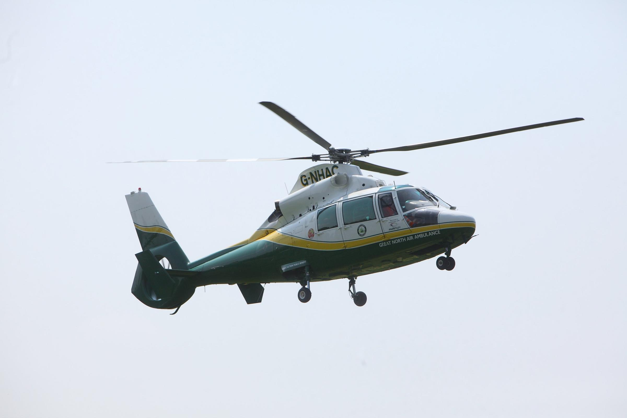 Burns victim airlifted to hospital