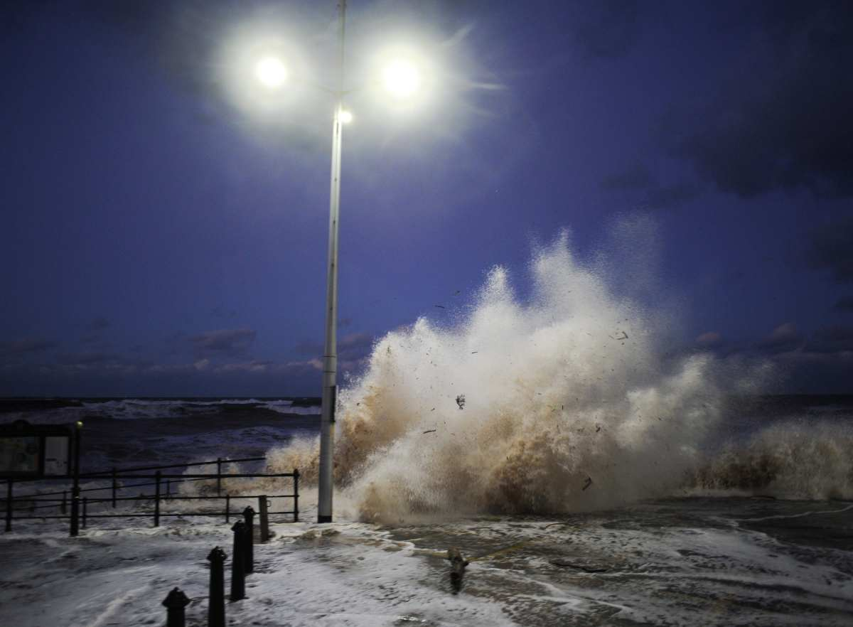 The storm surge strikes Saltburn last night