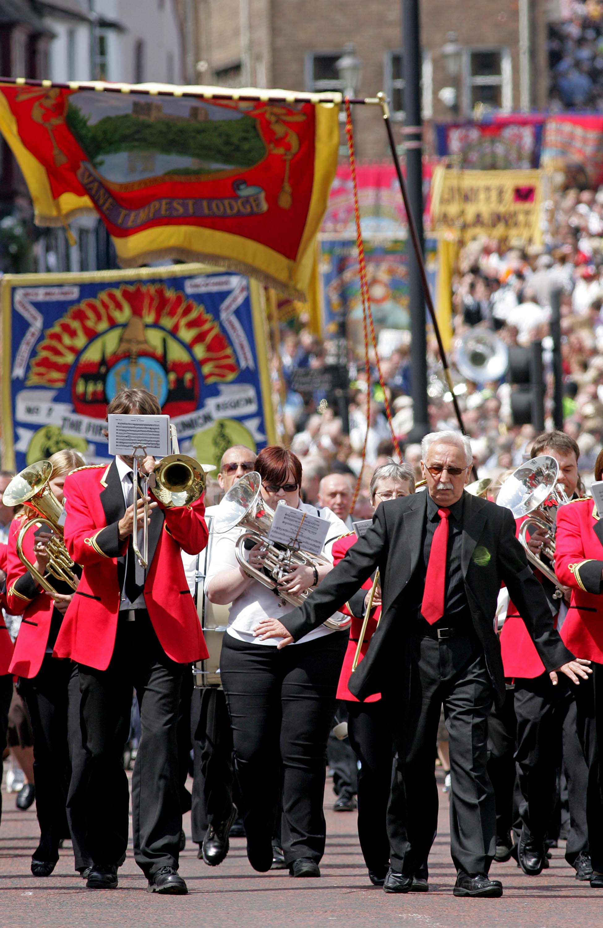 Pittington Brass Band performing at last year's Durham Miners' gala