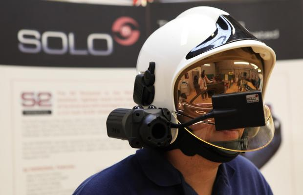 A helmet and camera developed by Darlington-based Solo-Ti