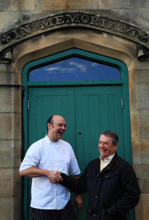 The Northern Echo: PUT IT THERE: Chef Paul Grundy shakes the hand of Alan Hardy, the regular who ended the uncertainty by buying the pub