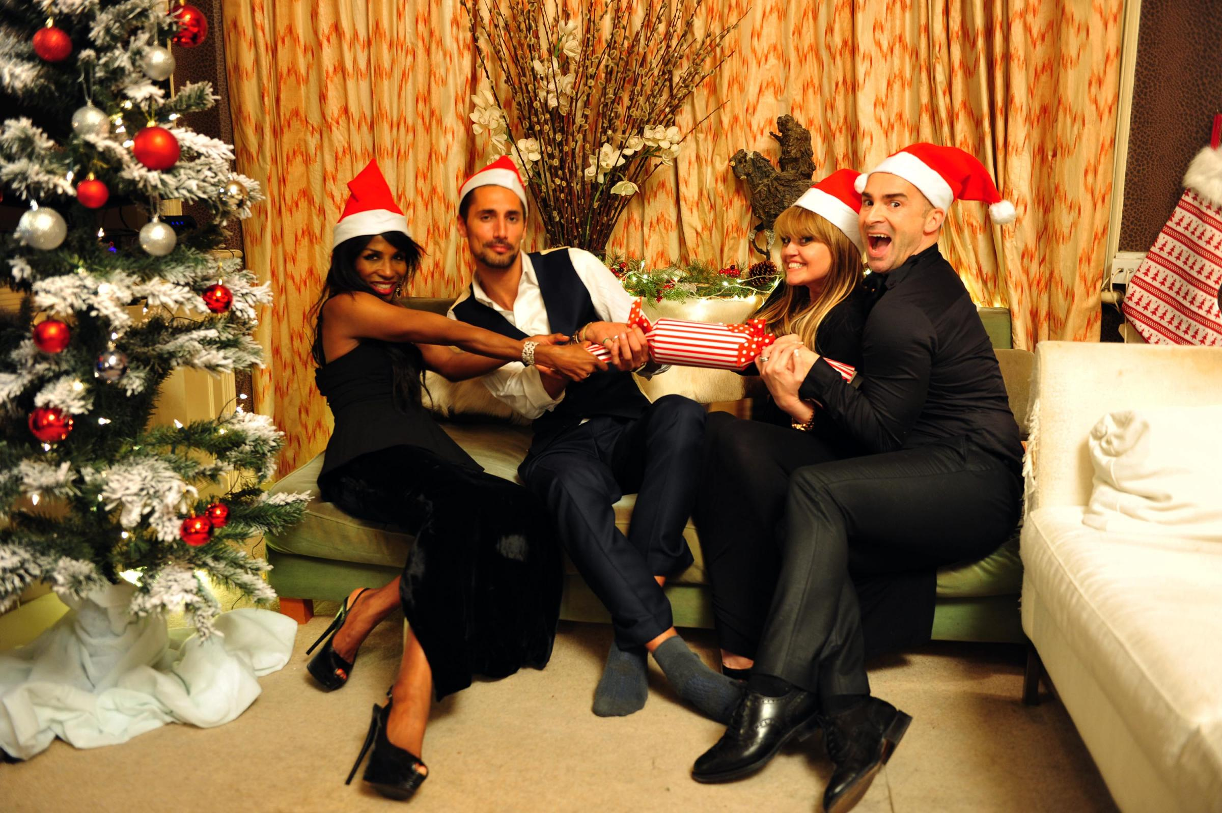 FESTIVE SPECIAL: From left, Sinitta, Hugo Taylor, Danniella Westbrook and Louie Spence in Celebrity Come Dine With Me
