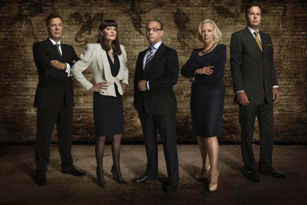 Theo Paphitis, centre, pictured with former Dragons' Den colleagues. From left are Duncan Bannatyne, Hilary Devey, Deborah Meaden and Peter Jones
