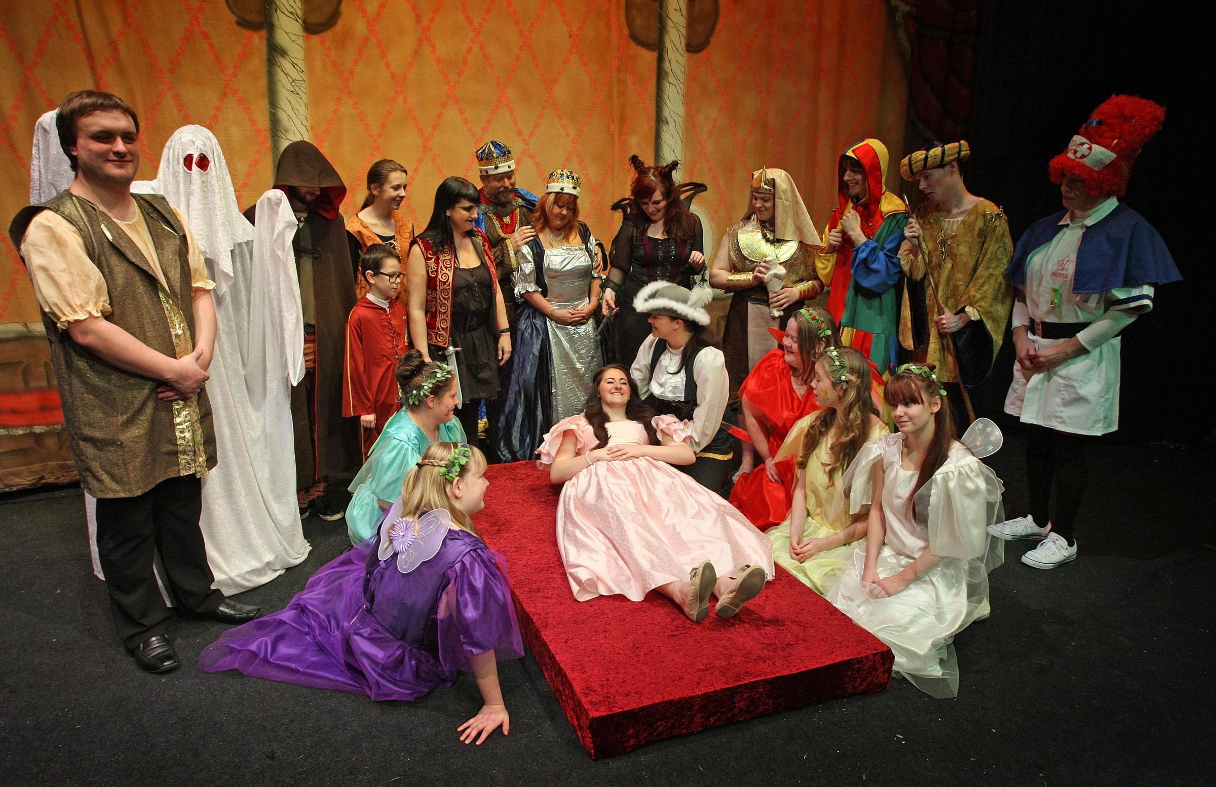 FAST ASLEEP: The cast of Bishop Auckland Theatre Society's panto, Sleeping Beauty, which runs at the town