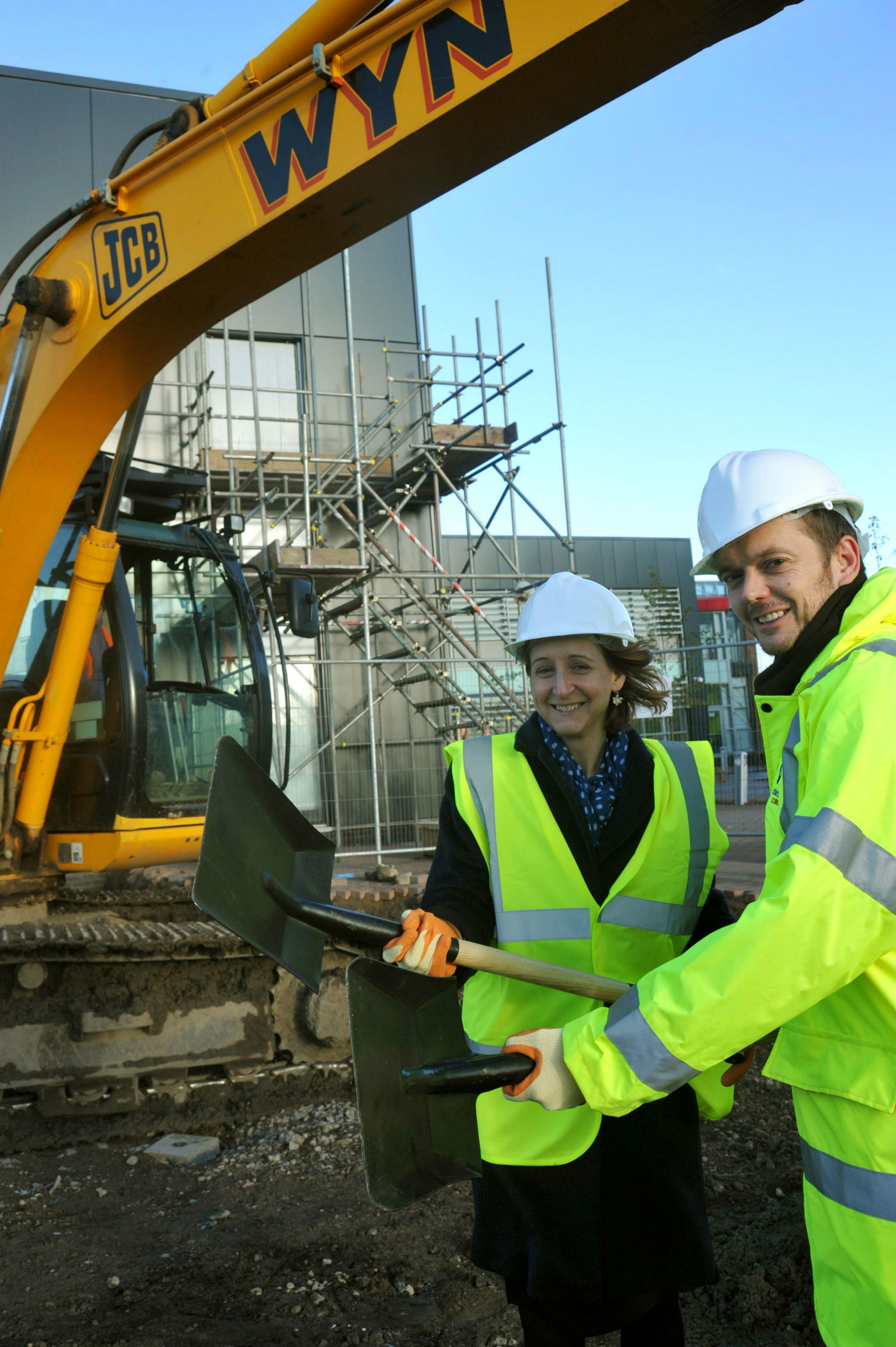 Middlesbrough College principal Zoe Lewis and David Riddle, MC6 director, help get work started on a £3m sixth form centre extension.