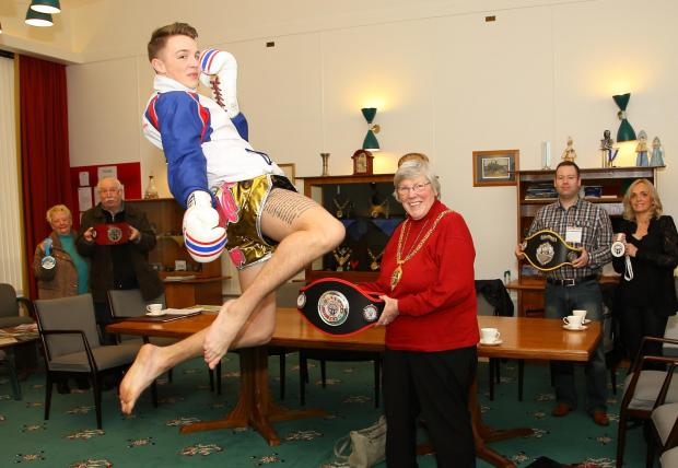 Jordon Williams, 16, of Trimdon, impresses Durham County Council chairwoman Pauline Charlton, while (L to R) his sponsors Maureen and Brian Ferguson, trainer, Steven Wright, and  mother, Zoe Goodum, watch on.