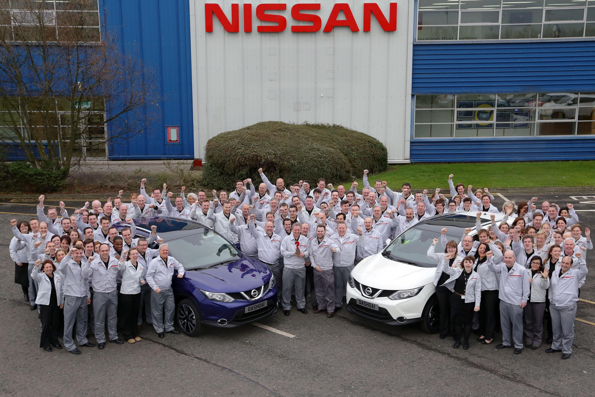 Staff at Nissan Sunderland, the largest car factory in the UK, celebrate production milestones and a car of the year award