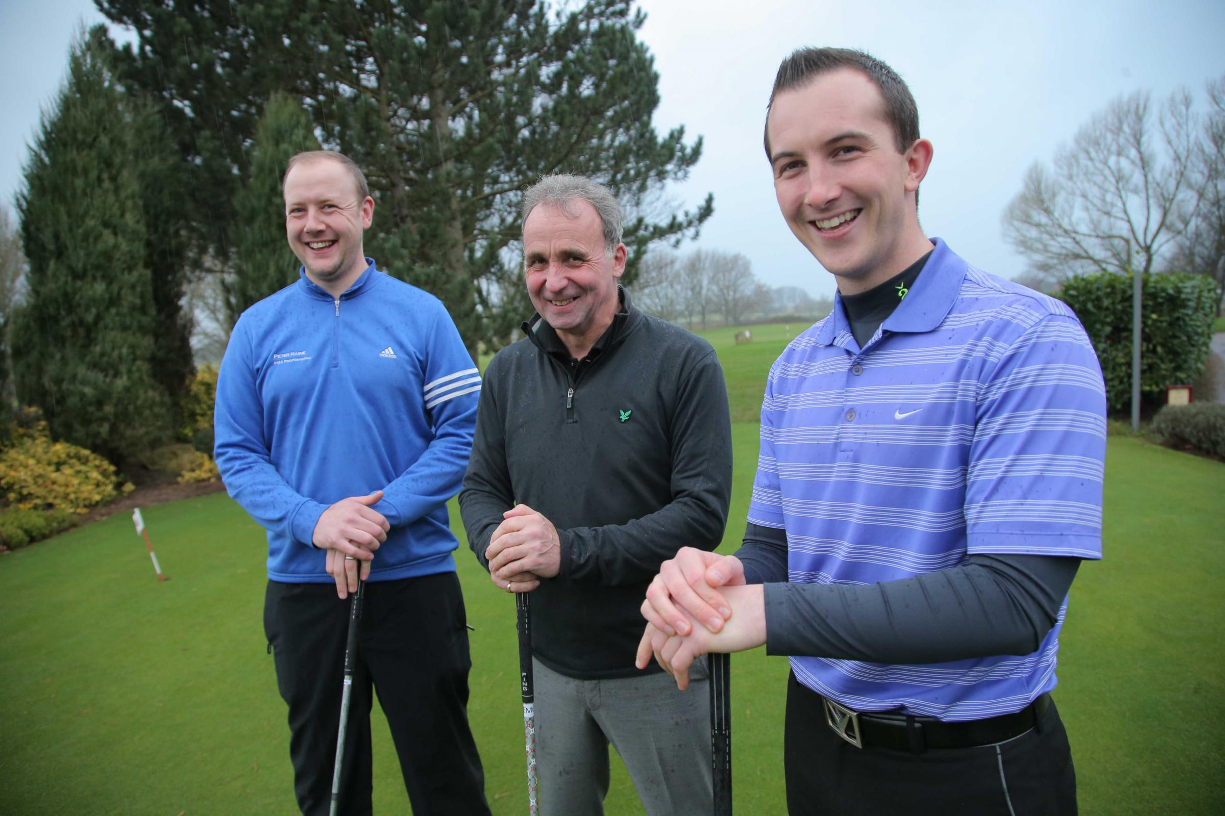 AIMING HIGH: Golf pros at Blackwell, left to right, Peter Raine, Ralph Givens and Ross Jackson
