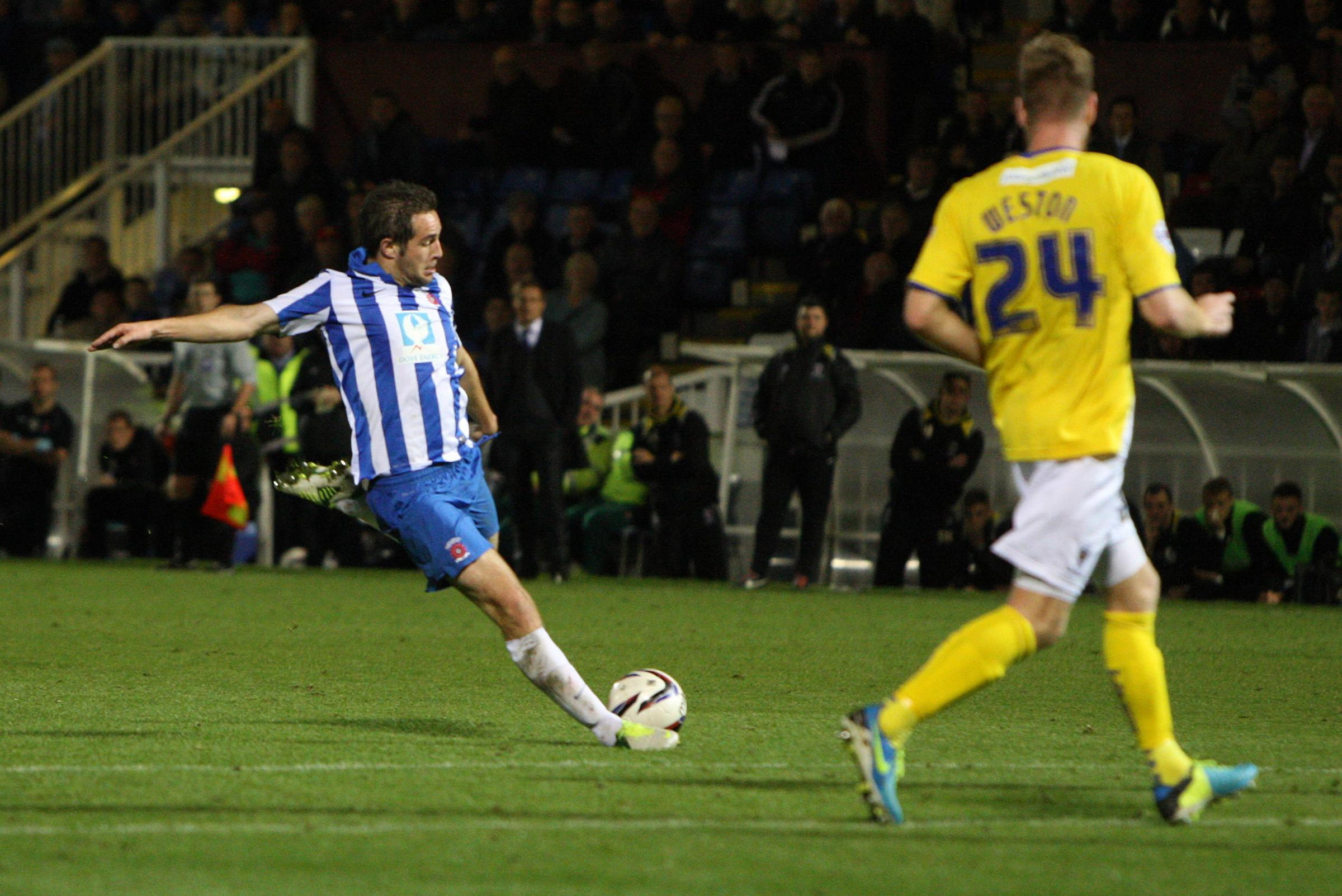 BACK TO BORO: Matty Dolan, pictured scoring against AFC Wimbledon, has returned to the Riverside after a loan spell at Victoria Park