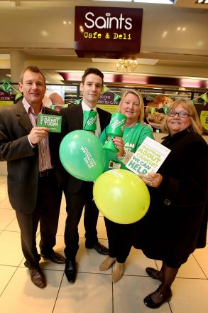 CAMPAIGN LAUNCH: Fund raisers join shopping centre staff at today's campaign launch