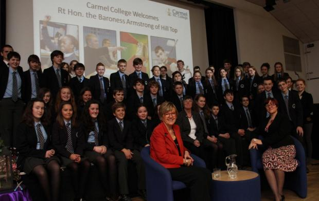 Baroness Armstrong with staff and students at Carmel College