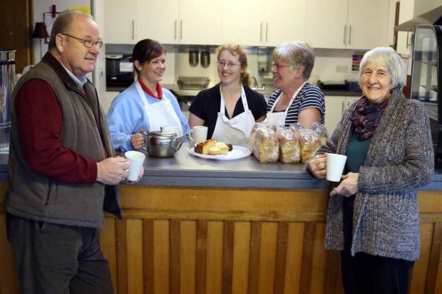 New community cafe: Coun Brian Jones (hall vice chair) Lissa Coates who works in the cafe, hall treasurer Janice Burrows, cafe worker Jean McKinnon and chair of the hall, Joan Vickers.
