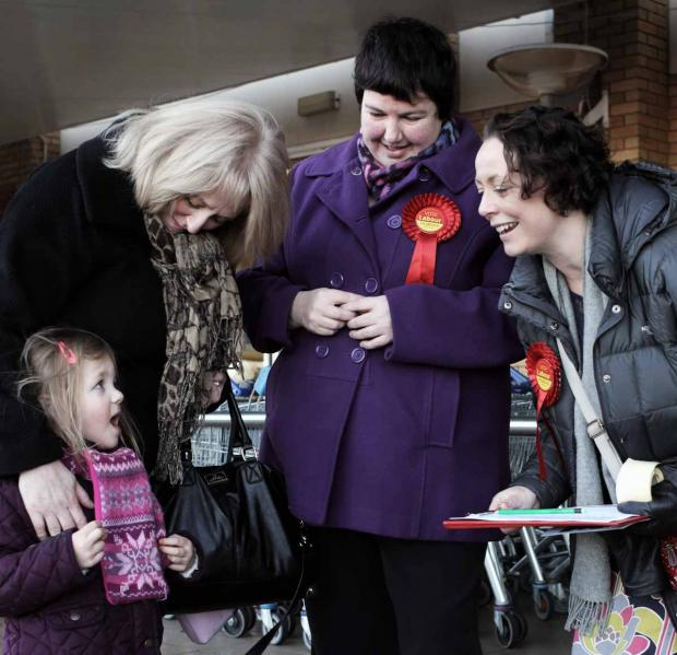 The Northern Echo: Labour and Co-operative Party parliamentary candidate for Stockton South Louise Baldock(Centre) and Shadow Economic Secretary to the Treasury Catherine McKinnell and MP for Newcastle North(right) chat to Susan Kilgour and granddaughter Lily Watkin