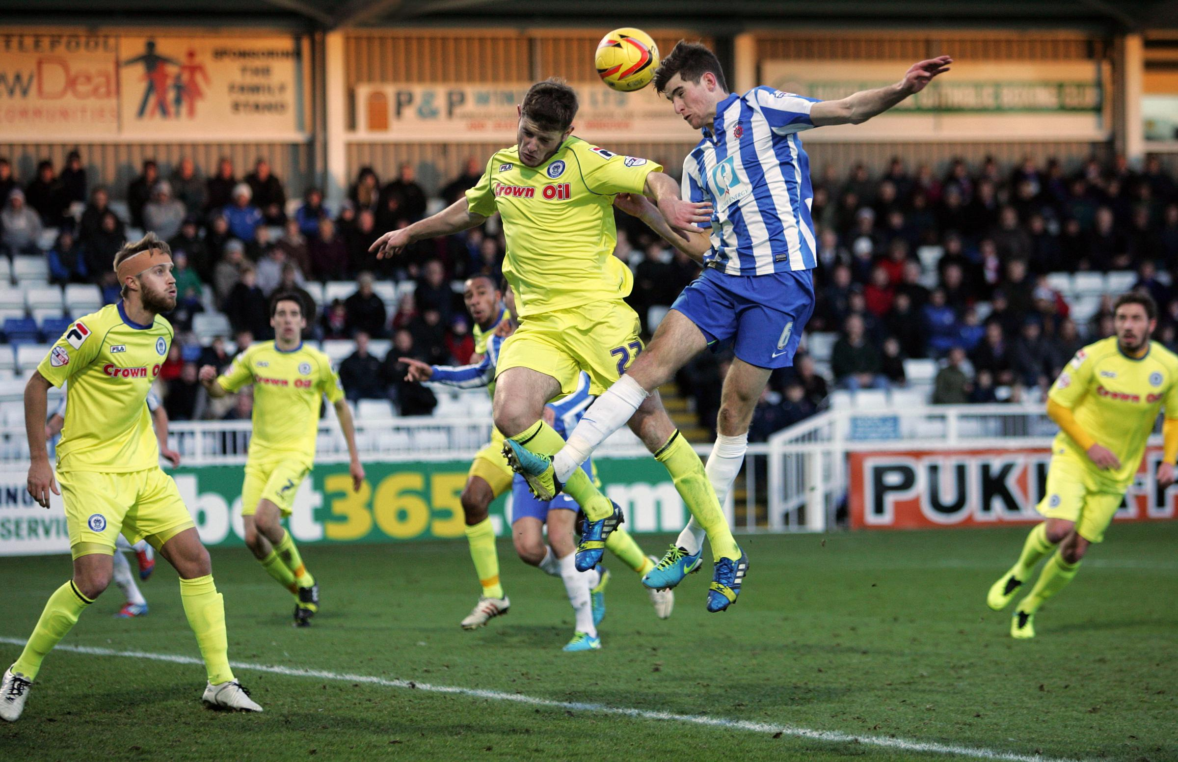 JACK IN THE BOX: Hartlepool's Jack Baldwin, again watched by Sunderland at the weekend, gets a header past Rochdale's Jack O'Connell