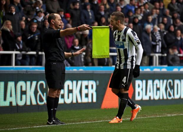 YOU CANNOT BE SERIOUS: Johan Cabaye offers his opinion to referee's assistant Stephen Child