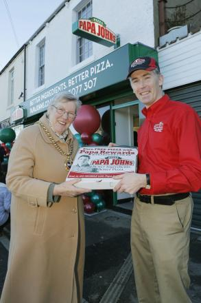 Mayor of Durham Pauline Charlton with Papa John's owner Dan Wilkinson