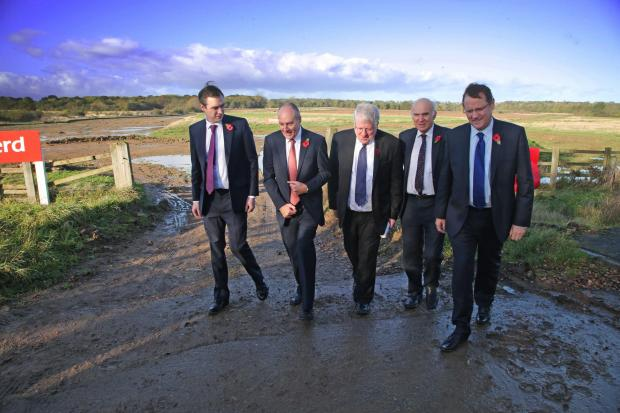 Phil Wilson, far right, pictured at the site of Hitachi's new Aycliffe train factory, with guests including Business Secretary, Dr Vince Cable, second right. Mr Wilson wants the Government to back plans for a university technology college in Aycliffe