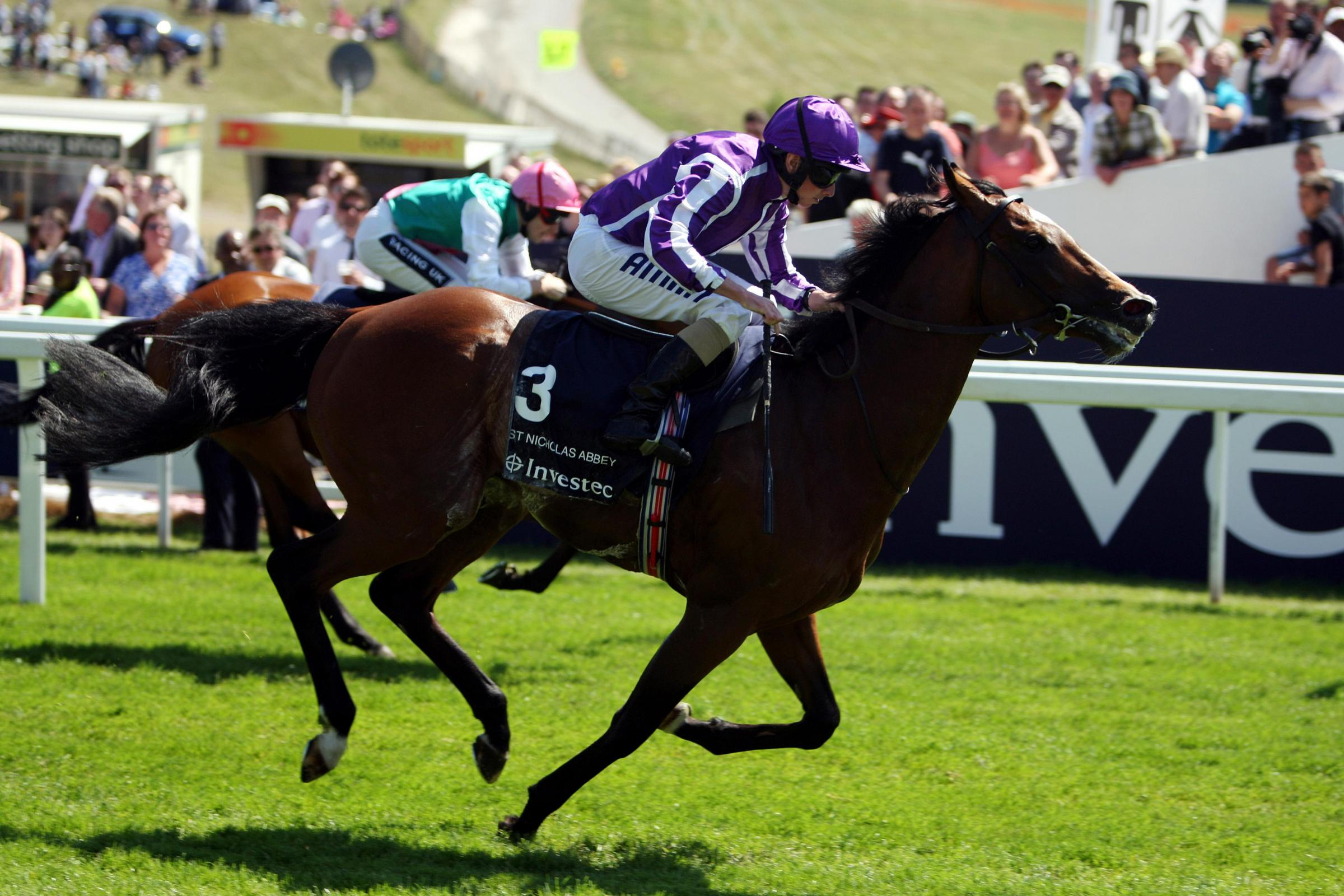 FIRST HOME: St Nicholas Abbey, winning the Investec Coronation Cup at Epsom in 2011