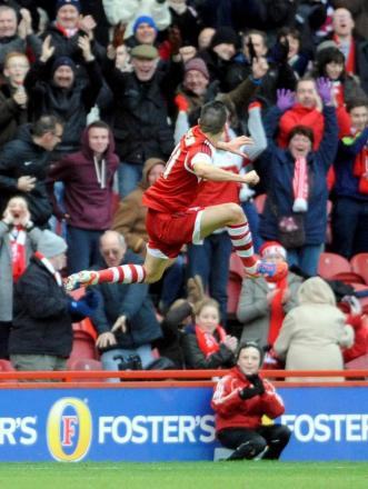 JUMP FOR JOY: Emmanuel Ledesma celebrates scoring the only goal of the game in Middlesbrough's win over Charlton Athletic
