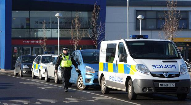 Police outside Redcar Academy this morning