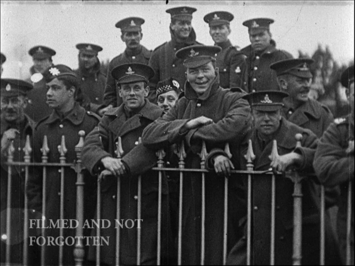 HIGH SPIRITS: A still from a film of soldiers attending a Highland Games event at Ripon Racecourse in 1916.