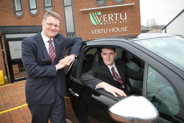 Robert Forrester (left), chief executive of Vertu Motors PLC, with James Collingwood.