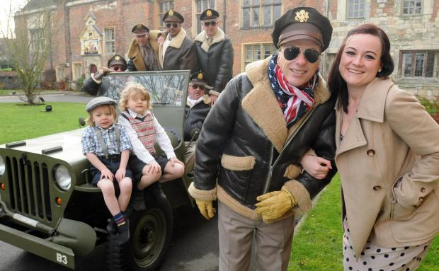 CHARITY BASH: Foreground (right) Cassie Cooper and Murray Rose and friends brought a flavour of World War Two to York when they dessed in period costumes to promote a Blitz party in aid of Cancer Research UK