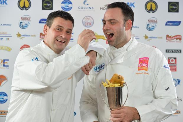 Stuart and Adrian Fusco of Quayside in Whitby, North Yorkshire, have been crowned the best UK fish and chip shop at the National Fish & Chip Awards 2014.  Pictures by Daniel Lewis