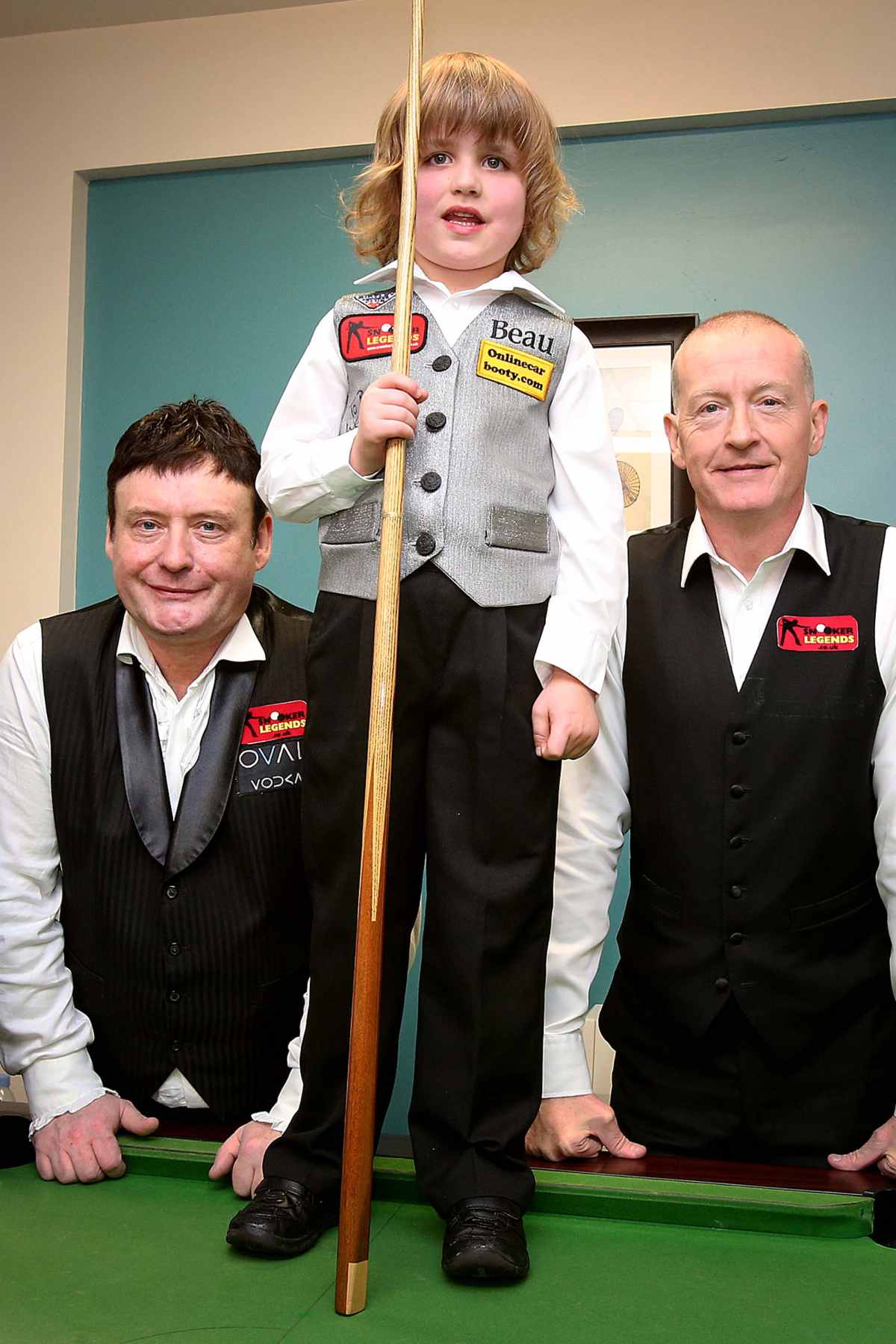 Talented youngster plays alongside snooker legends Jimmy White and Steve Davis