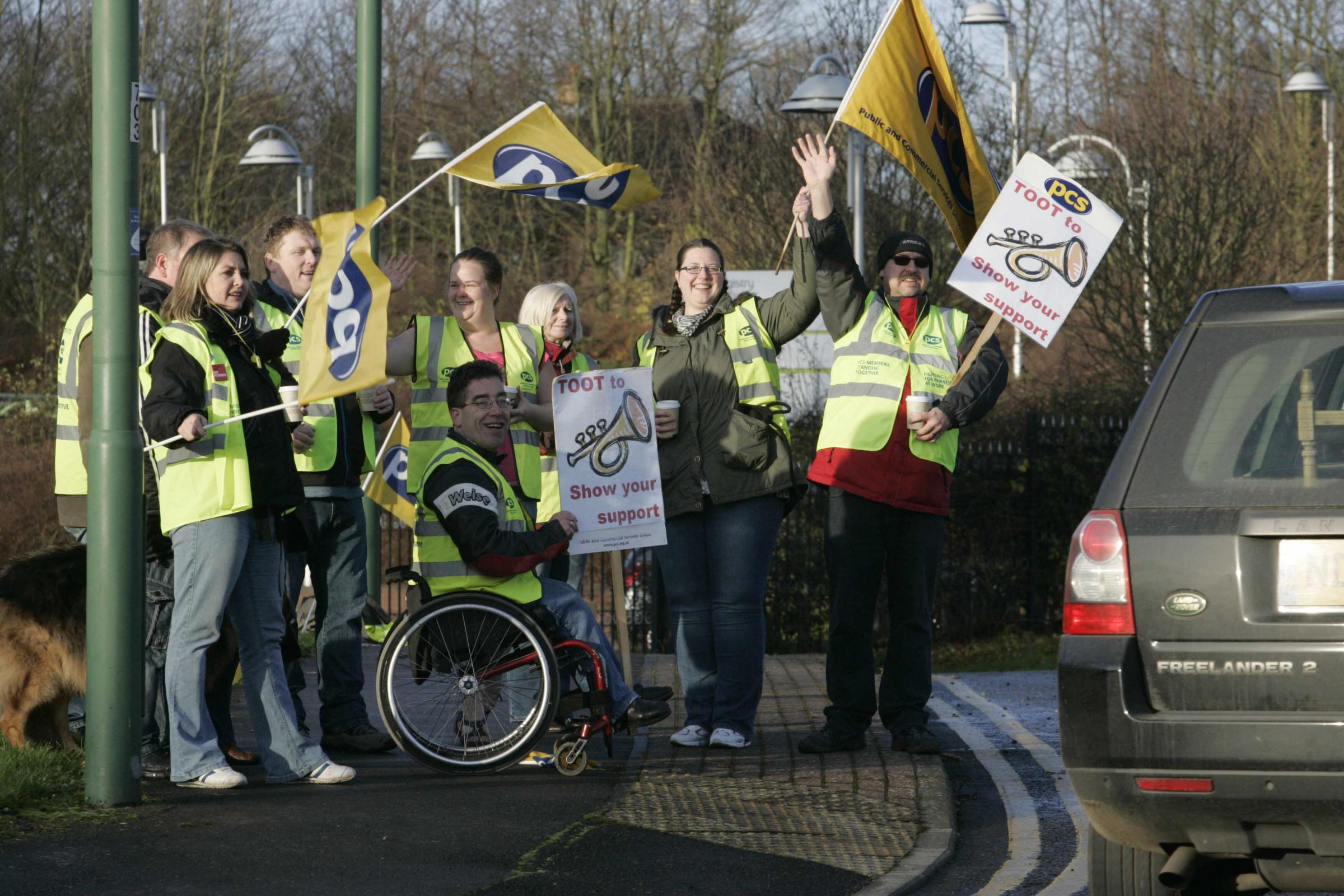 Land Registry workers at Durham during a 2011 strike