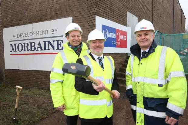 Graham Adams, Councillor  Paul Foy and Geraint Morgan at the demolition of the old store in Birtley.