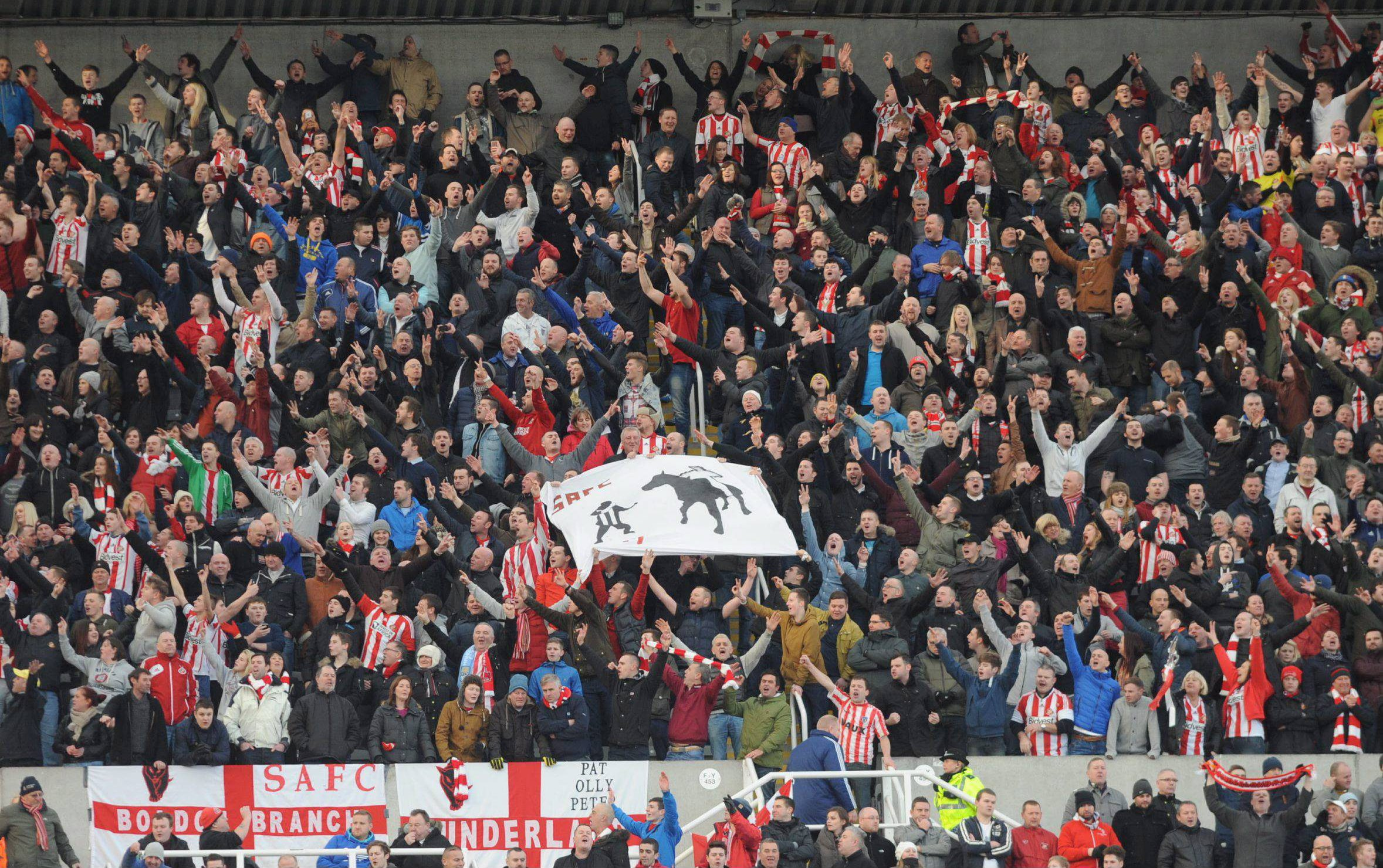 PLENTY TO CELEBRATE: Sunderland fans make their voices heard as their team coast to another derby victory at St James' Park