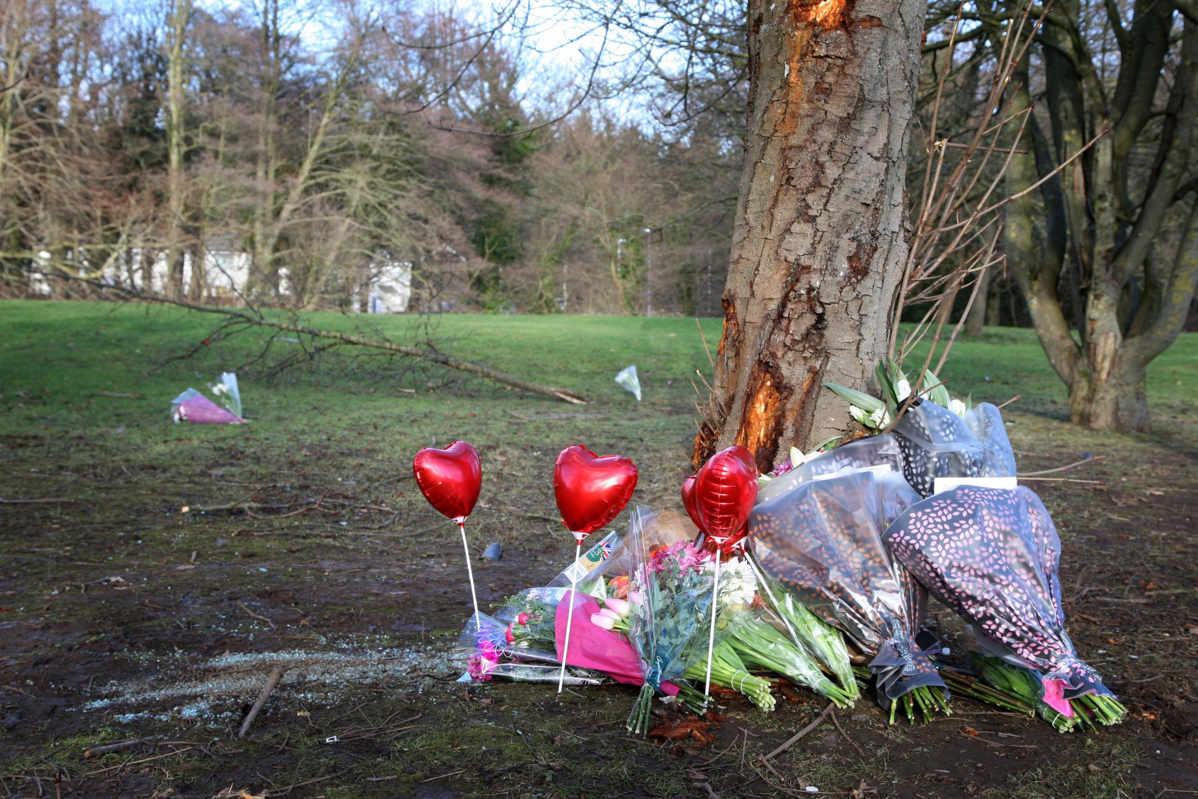 Tributes left at the scene of the crash